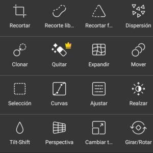 Opciones herramientas PicsArt