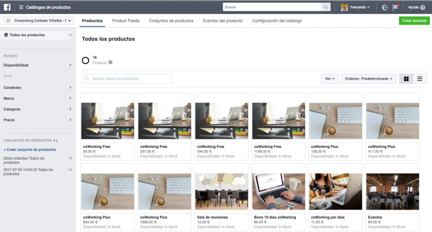 Catalogo de productos Facebook