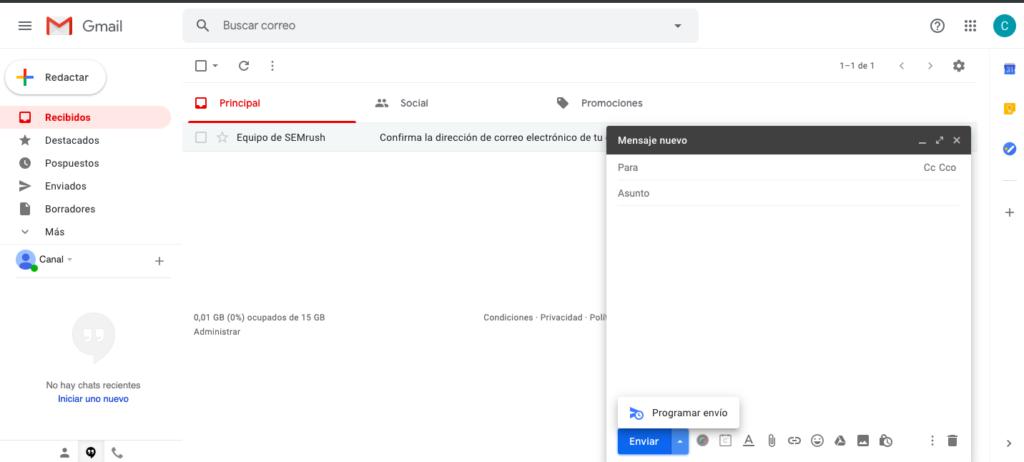 Programar envío de correo en Gmail